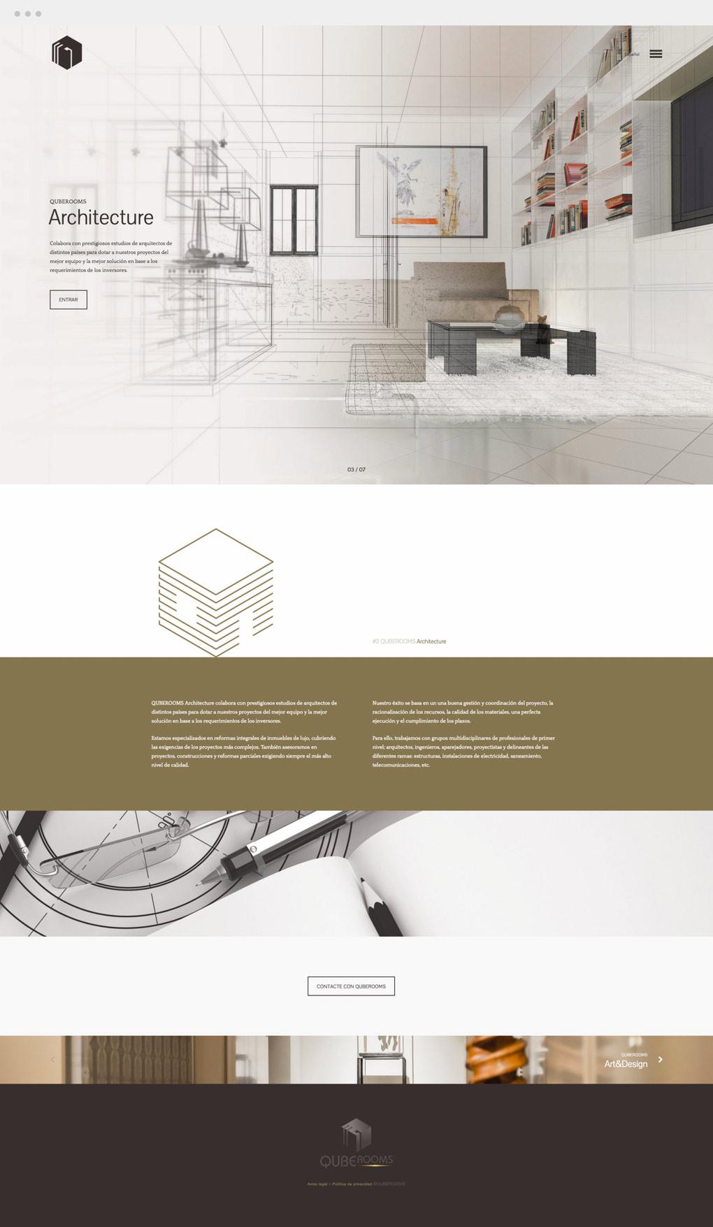 Diseno de web para QubeRooms presentación de servicio de arquitectura