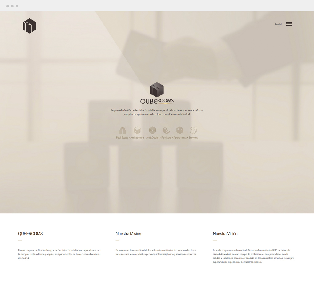 diseño de página web para QubeRooms sección Inicio
