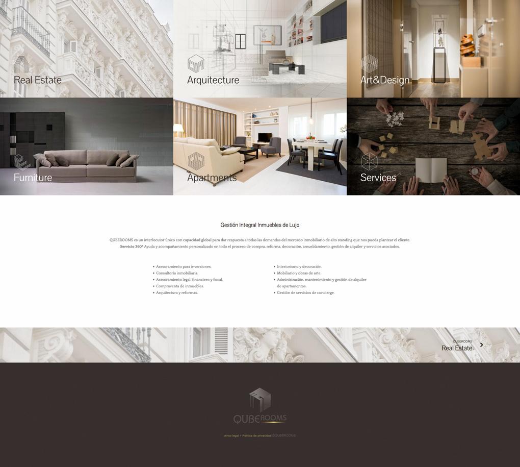 diseño de página web para QubeRooms sección servicios