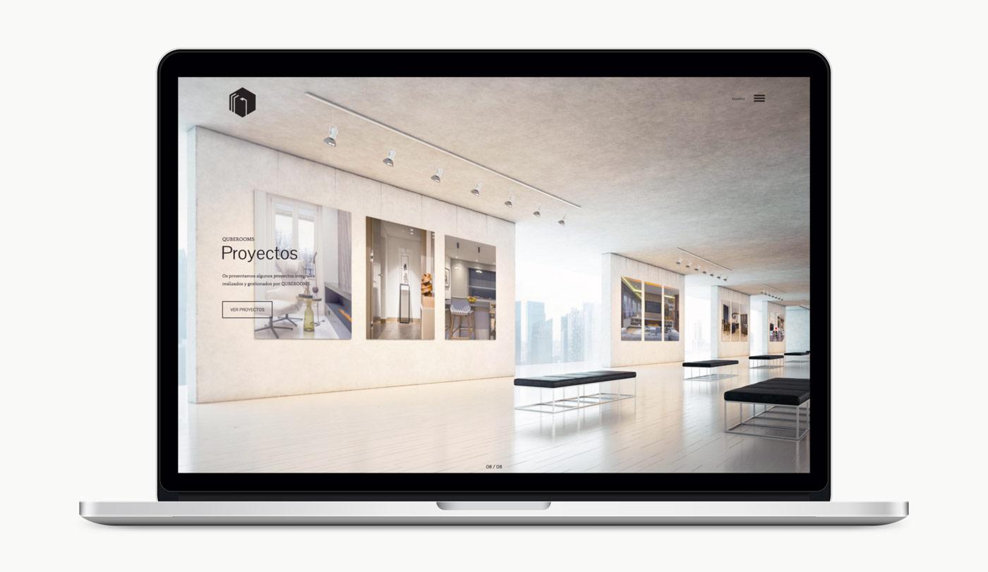Diseno de web para QubeRooms presentación de diseño en 1 laptops