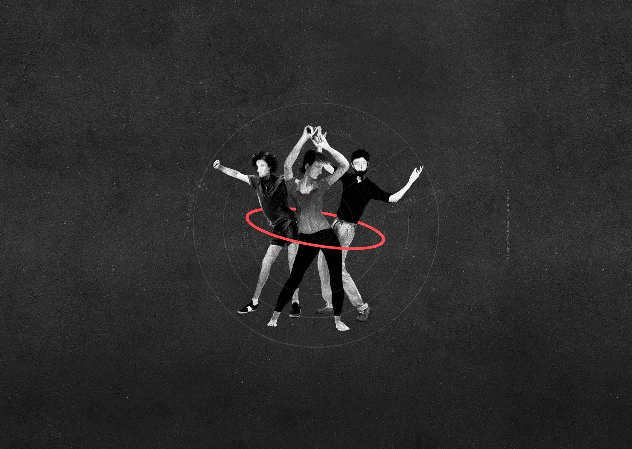 imagen de personas bailando acompasadas representando servico diseños web