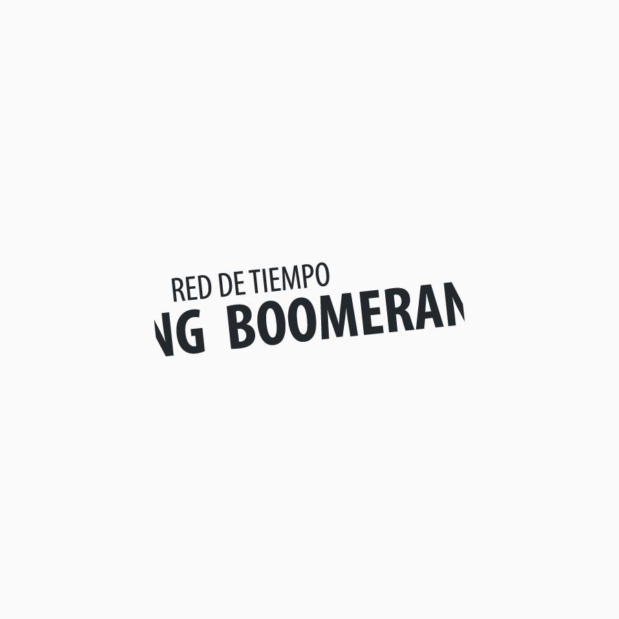 diseño de logotipo de Red de Tiempo Boomerang blanco y negro