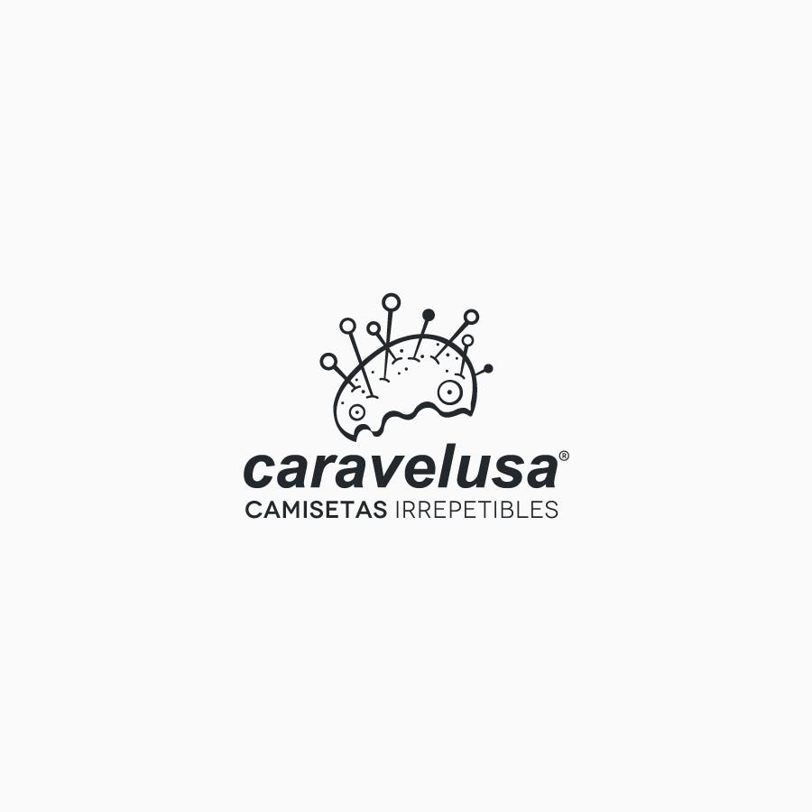 diseño de logotipo de Caravelusa blanco y negro