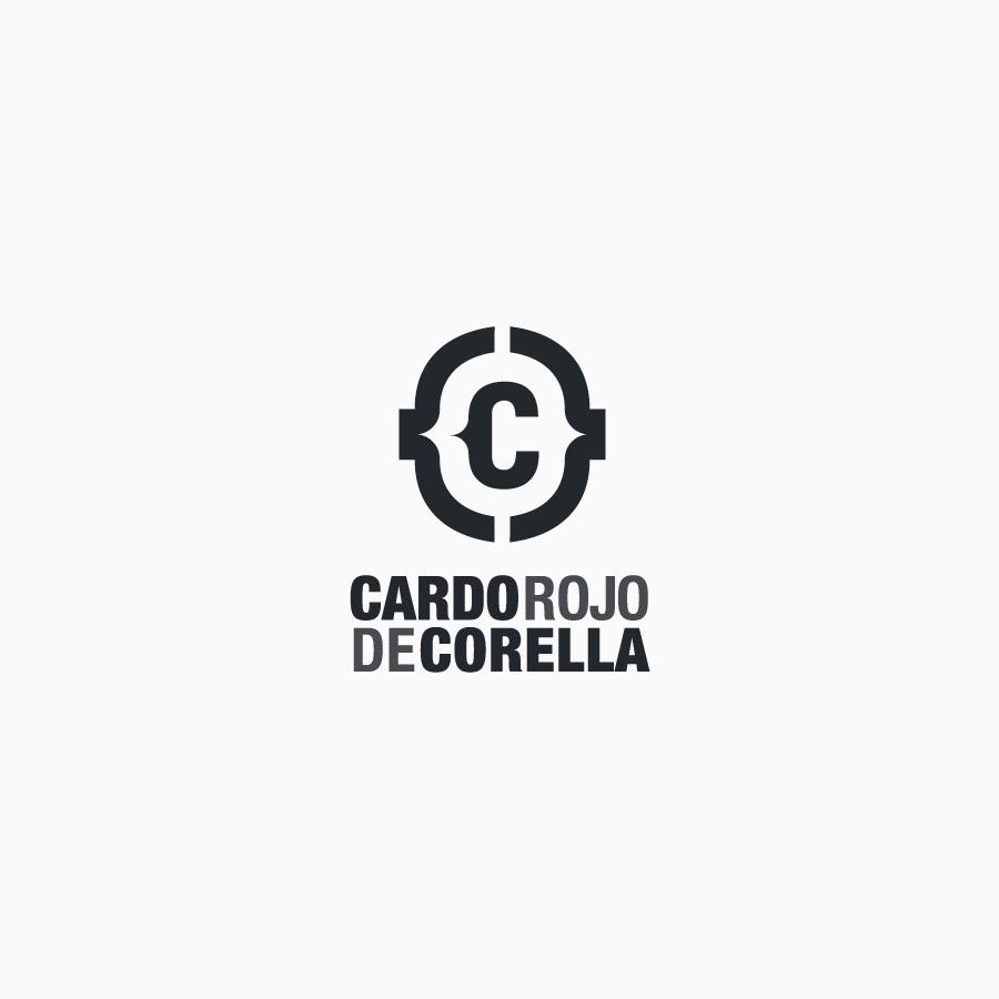 diseño de logotipo de Cardo Rojo de Corella blanco y negro