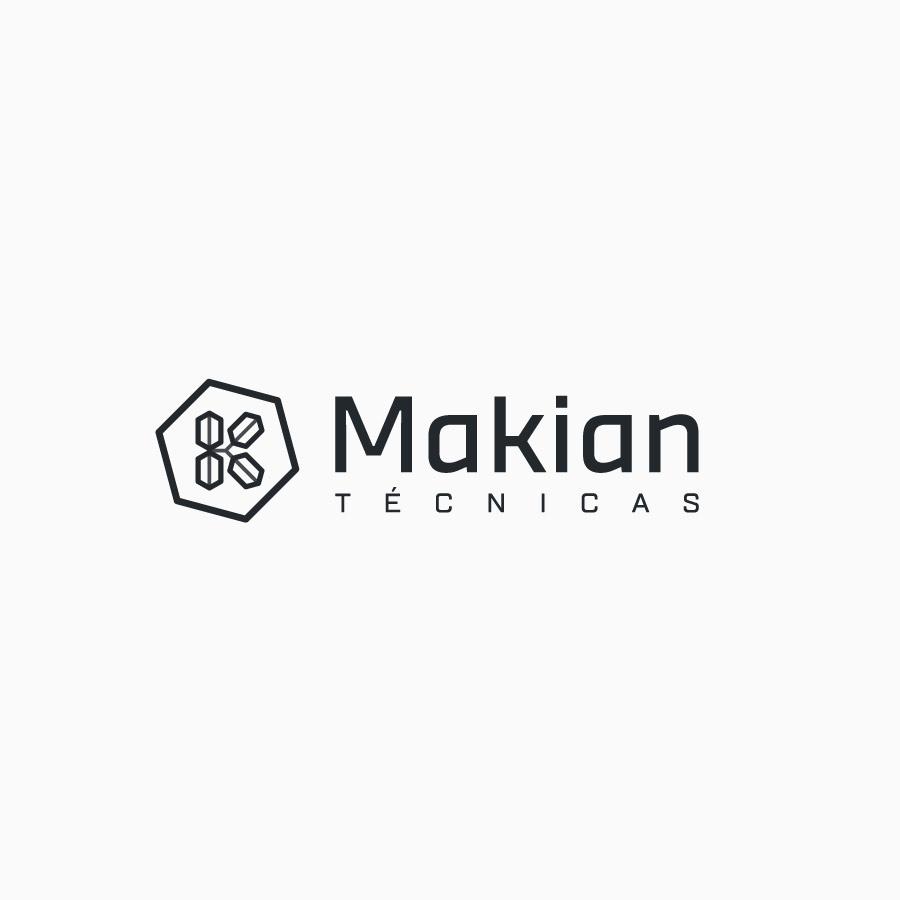 diseño de logotipo de Makian Técnicas blanco y negro