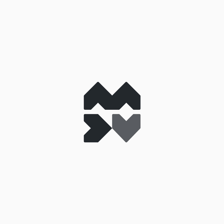 diseño de logotipo de MDV en blanco y negro