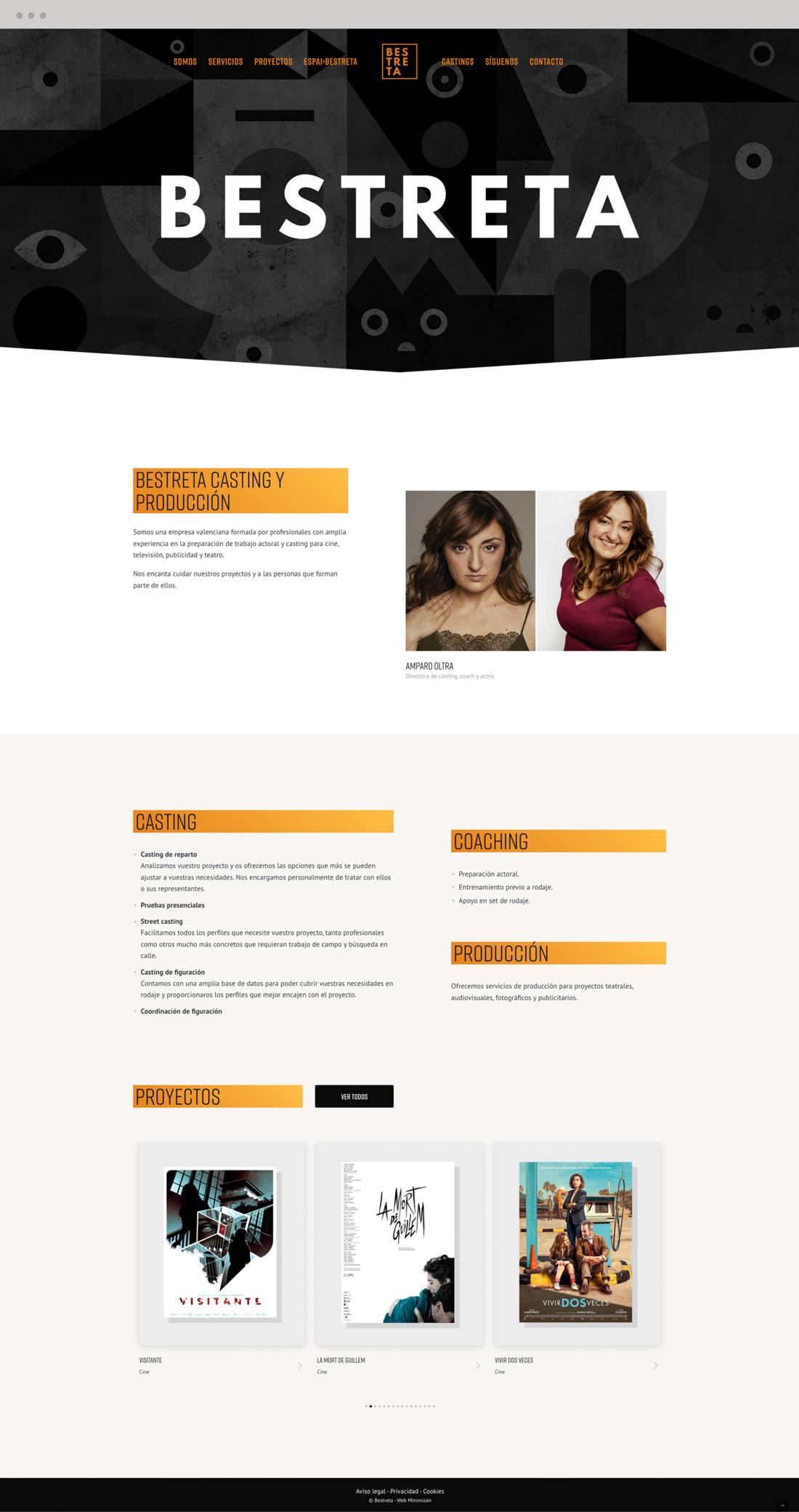 diseño pagina web productora Bestreta vista portatil empresa
