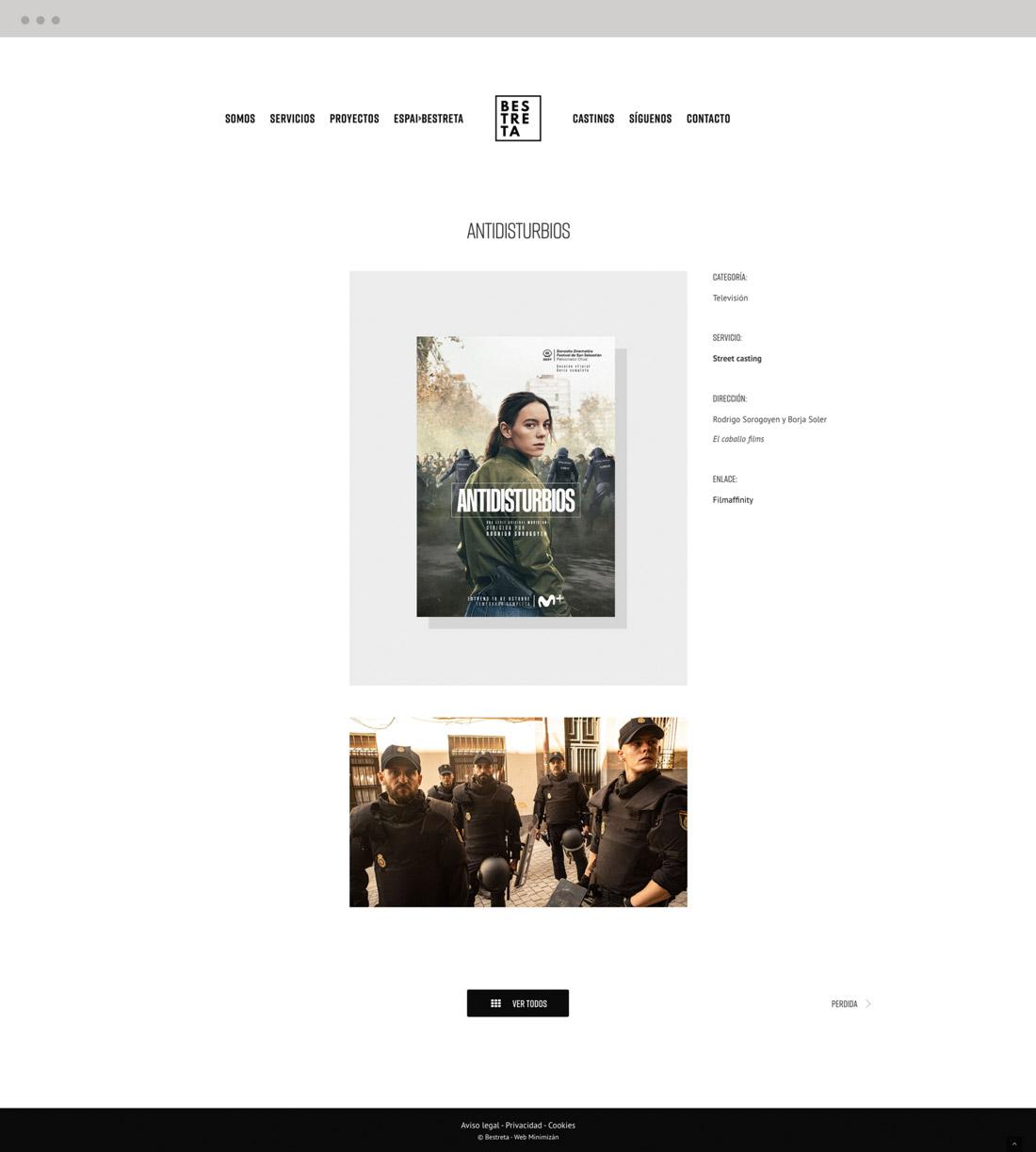 diseño pagina web productora Bestreta vista portfolio