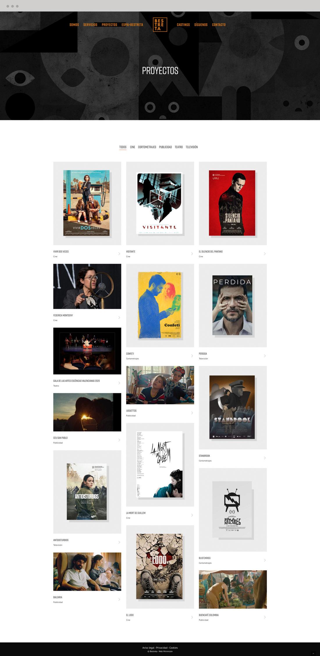 diseño pagina web productora Bestreta vista portatil proyectos