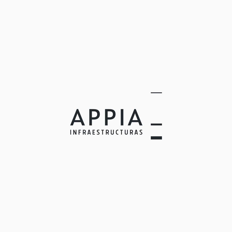 diseño de logotipo de Appia Infraestructuras en blanco y negro
