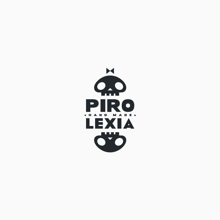 diseño de logotipo de Pirolexia en blanco y negro