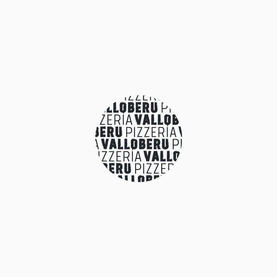 diseño de logotipo de Pizzería Valloberu en blanco y negro