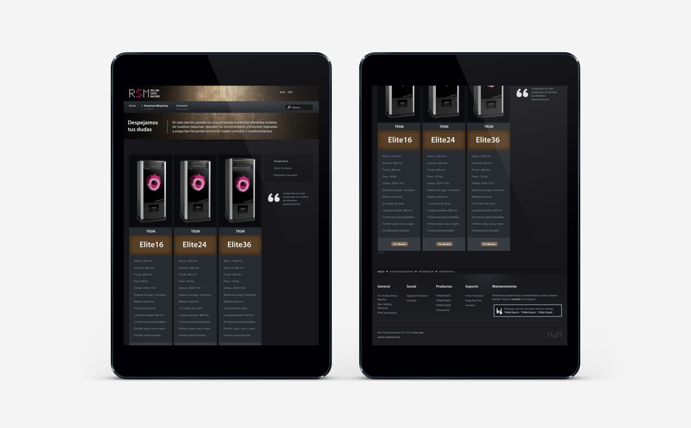 diseño de tienda online visualización responsiva en 2 ipads para RSM