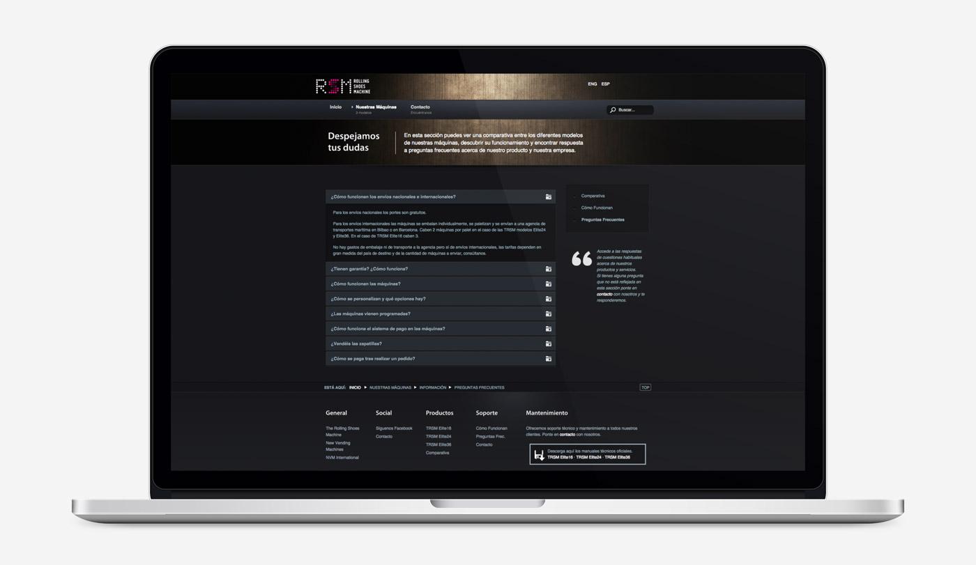 diseño de tienda online sección FAQs para RSM