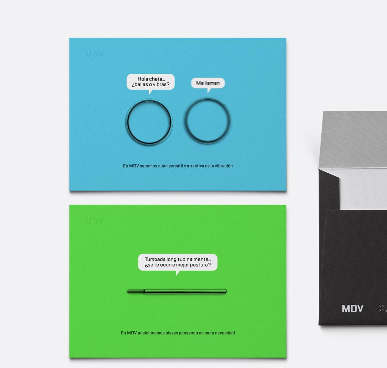 Presentación de campaña para MDV de impresiones de creatividad piezas parlantes versión tarjetas azul y verde