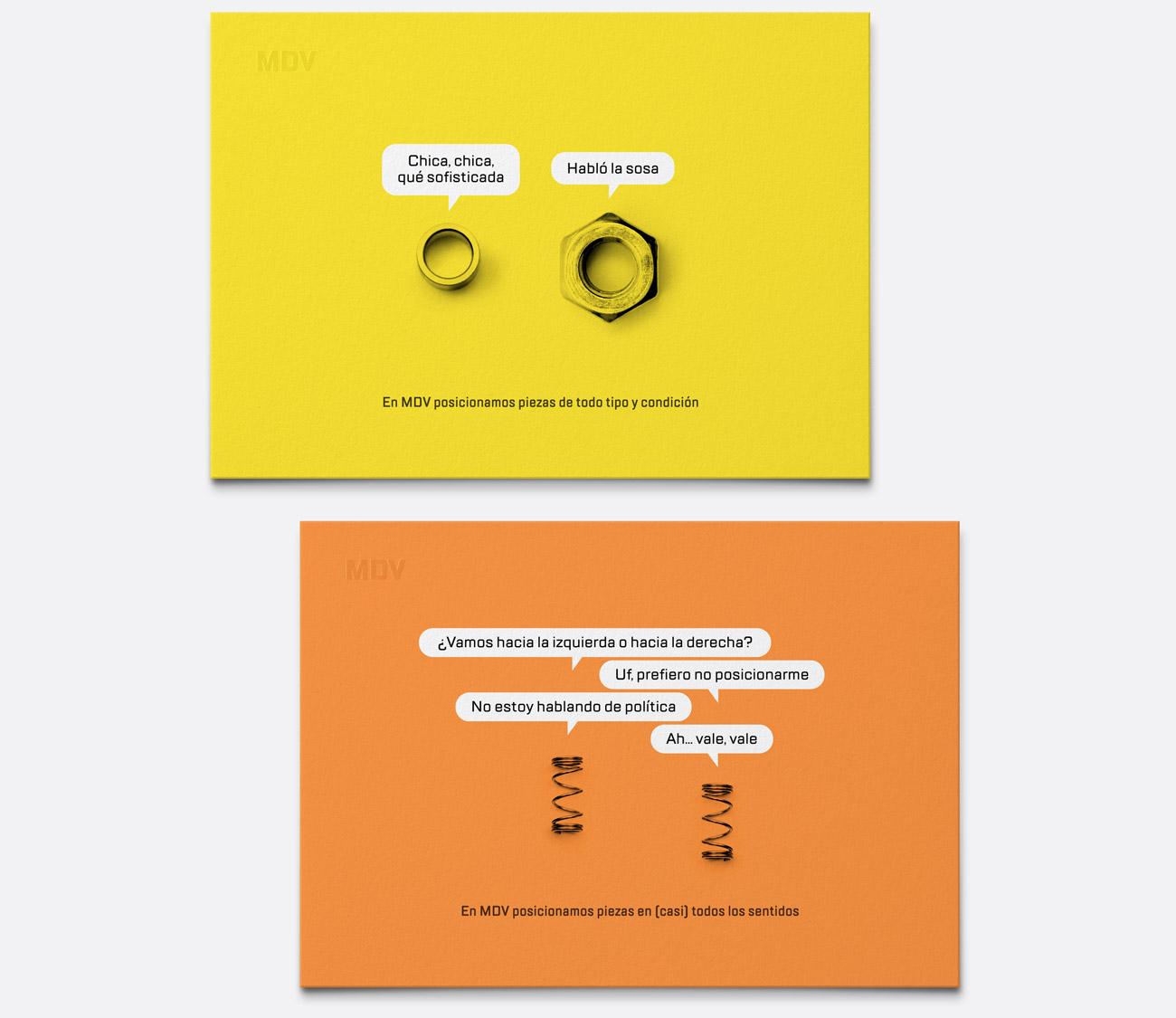 Presentación de campaña para MDV de impresiones de creatividad piezas parlantes versión tarjetas amarilla y naranja