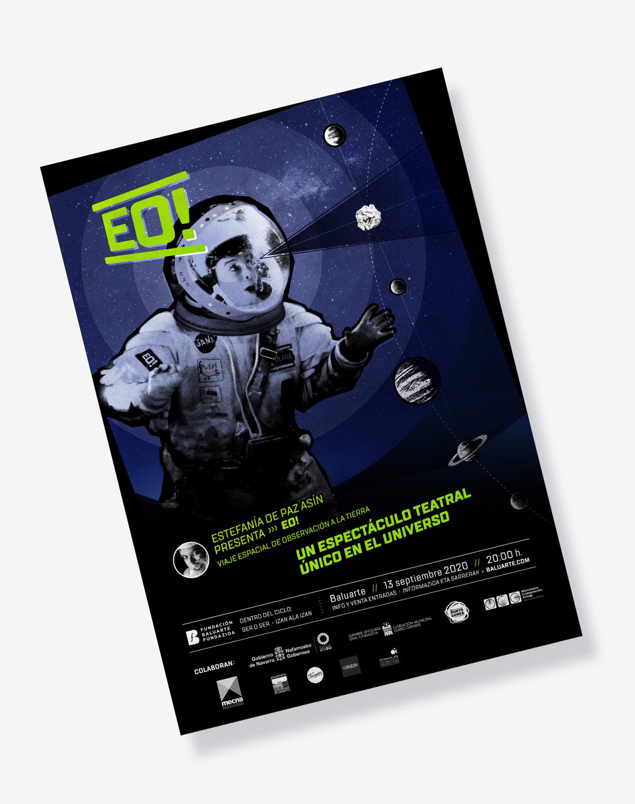 Imagen gráfica y aplicaciones para obra de teatro EO! presentación de cartel