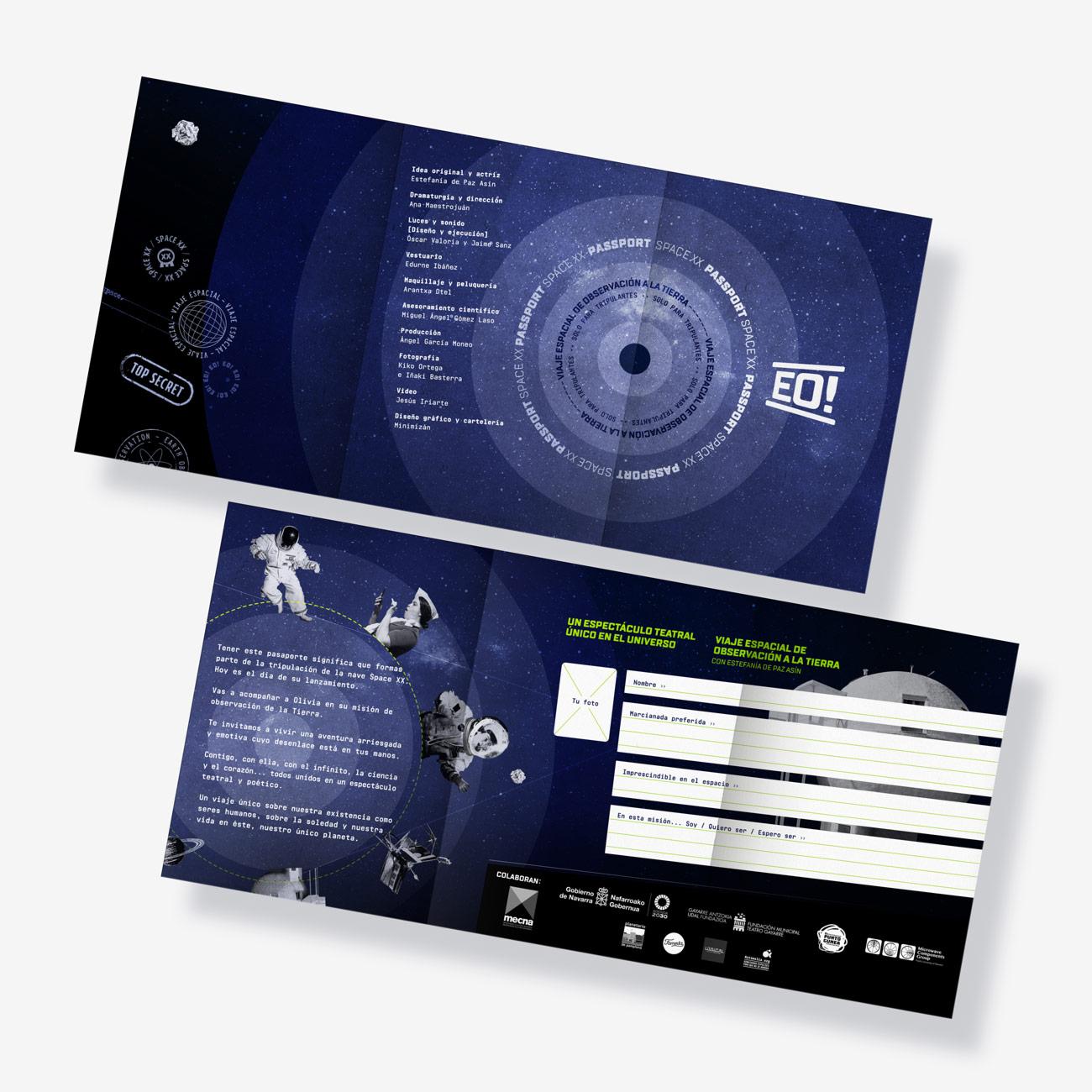 Imagen gráfica y aplicaciones para obra de teatro EO! presentación de flyer