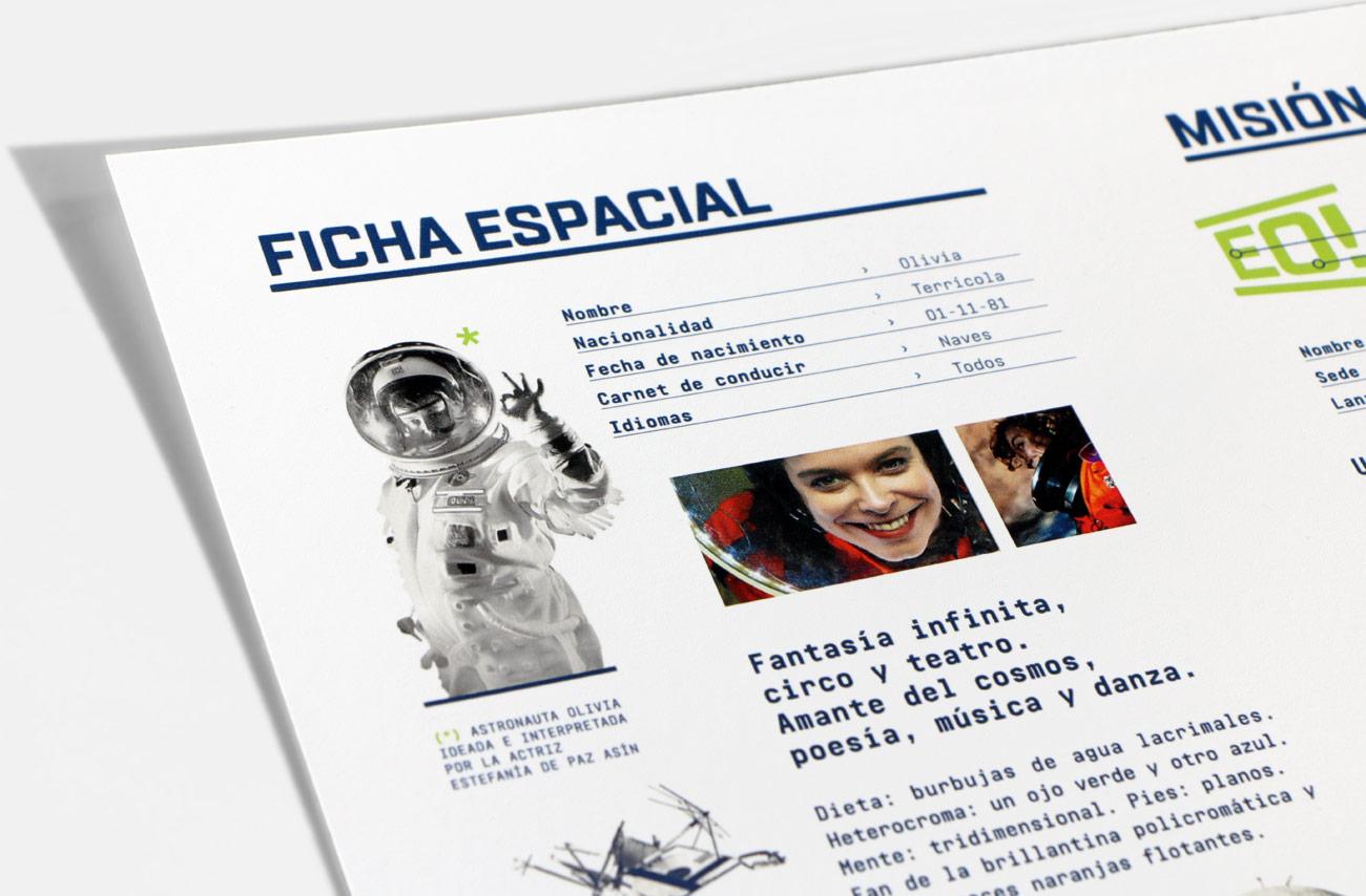 Imagen gráfica y aplicaciones para obra de teatro EO! presentación de protagonista